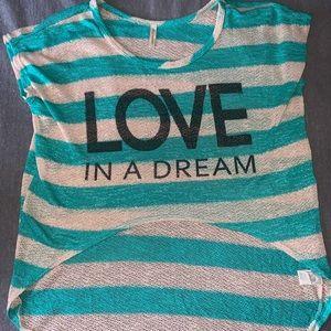 aqua blue and white stripped shirt